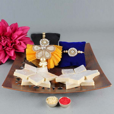 Rakhi For Bhaya n Bhabi with Kaju Katli