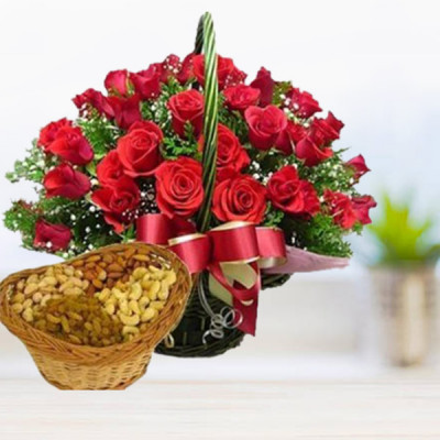 Roses Basket with Dry Fruits