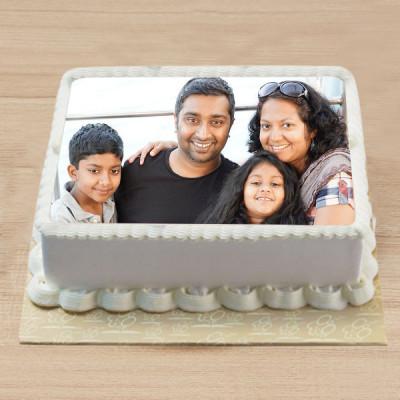 Vanilla Square Photo Cake