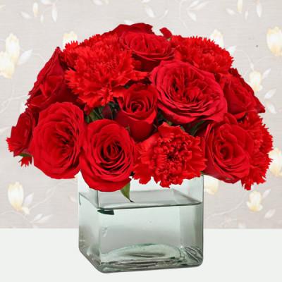 Vase of Roses N Carnations
